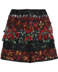 Valentino - Feather-trimmed Embellished Tulle Shorts - Lyst