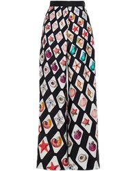 Mary Katrantzou Venice Printed Silk-twill Wide-leg Trousers - Black