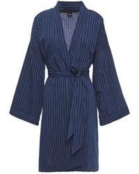 Else Robie Belted Striped Cotton Robe Navy - Blue