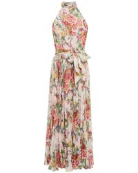 Zimmermann Wavelength Sunday Pleated Floral-print Chiffon Midi Dress - Pink