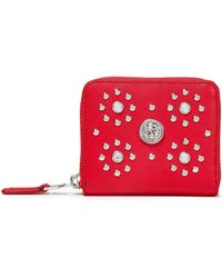 Versus Studded Textured-leather Wallet Red
