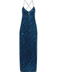 Michelle Mason - Open-back Sequined Tulle Maxi Slip Dress Cobalt Blue - Lyst