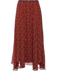 By Malene Birger Asymmetric Printed Crepon Midi Skirt Brick - Red