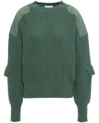 Equipment Twill-paneled Ribbed Cotton-blend Jumper Forest Green