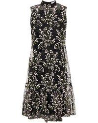 Erdem Nena Pleated Embroidered Organza Dress Black