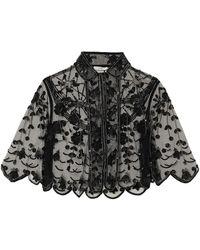 Erdem Damasia Cropped Embellished Tulle Jacket - Black