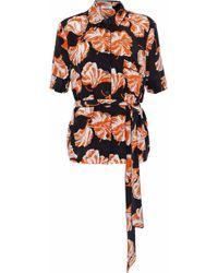 Ganni - Geroux Belted Printed Washed-silk Shirt - Lyst
