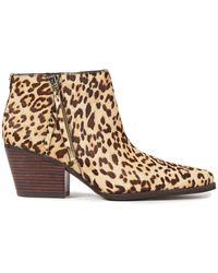 Sam Edelman Walden Leopard-print Calf Hair Ankle Boots Animal Print - Brown