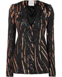 Halpern Sequin Embellished Slim Jacket - Black