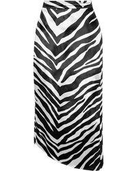 Michelle Mason Asymmetrischer Midirock Aus Samt Mit Zebraprint - Weiß