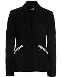 Love Moschino Stretch-cotton Piqué Blazer - Black