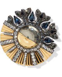 Lanvin Gold And Gunmetal-tone Crystal Brooch Gold - Metallic