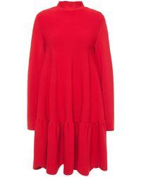 Valentino - Gathered Ponte Mini Dress Red - Lyst