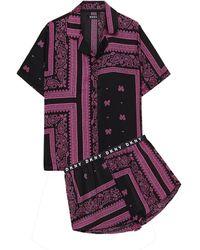 DKNY Pyjama Aus Webstoff Mit Paisley-print - Schwarz