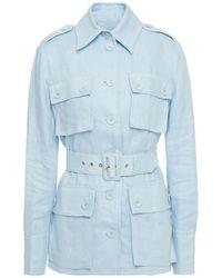 Zimmermann Glassy Belted Linen Field Jacket Sky Blue