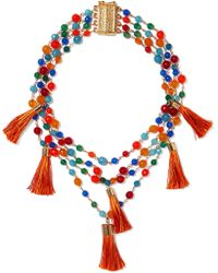 Rosantica - Tasseled Gold-tone Beaded Necklace - Lyst