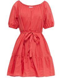 Velvet By Graham & Spencer Tiered Cotton-poplin Mini Dress