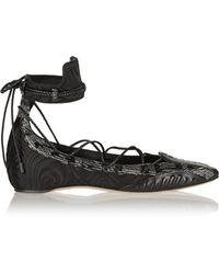 Daniele Michetti | - Musa Satin, Leather And Elaphe Point-toe Flats - Black | Lyst