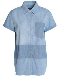 J Brand Wylie Two-tone Cotton-blend Chambray Shirt Light Blue