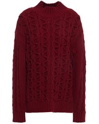 Lela Rose Cable-knit Wool And Cashmere-blend Jumper - Red