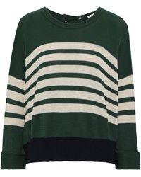 Autumn Cashmere Cutout Striped Cotton Jumper Forest Green
