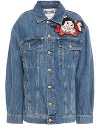 Moschino Metallic Embroidered Appliquéd Denim Jacket Mid Denim - Blue