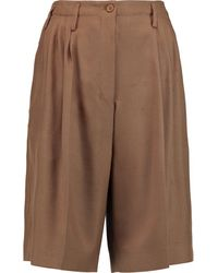 Agnona - - Pleated Woven Silk Shorts - Light Brown - Lyst