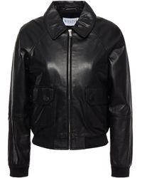 Claudie Pierlot Leather Bomber Jacket - Black