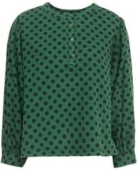 American Vintage Polka-dot Cotton And Wool-blend Twill Blouse - Green