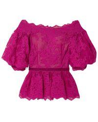 Marchesa Off-the-shoulder velvet-trimmed corded lace peplum top - Lila
