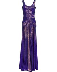 Roberto Cavalli Sequined Knitted Gown Indigo - Blue