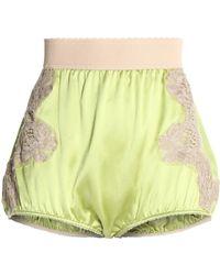 Dolce & Gabbana - Lace Appliquéd Silk-satin Shorts Lime Green - Lyst