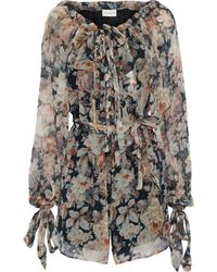 Zimmermann Tempest Gathers Belted Floral-print Silk-georgette Playsuit Black