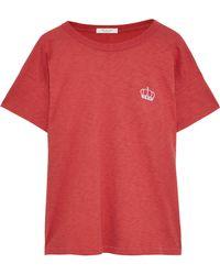 9ce7de18ab Rag & Bone Halsey Crewneck Long-sleeve Striped Cotton Tee in Red - Lyst