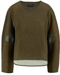 By Malene Birger - - Asilla Faille-paneled Cotton-terry Sweatshirt - Army Green - Lyst