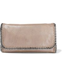 Stella McCartney Falabella Metallic Faux Brushed-leather Clutch Mushroom - Multicolour