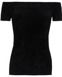 15795e87ccbda3 Helmut Lang - Woman Off-the-shoulder Ribbed Chenille Top Black - Lyst