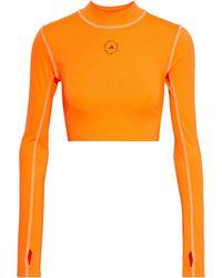 adidas By Stella McCartney Bedrucktes cropped oberteil aus stretch-material mit cut-outs - Orange