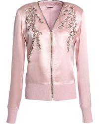 Elie Tahari - Embellished Silk-satin And Merino Wool Bomber Jacket - Lyst