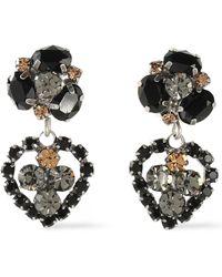 DANNIJO - Oxidized Silver-tone Crystal Earrings Black - Lyst