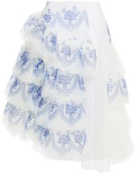 Simone Rocha Tulle-paneled Tiered Printed Organza Skirt - White