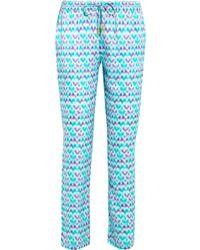 Paloma Blue - Venice Printed Silk-satin Slim-leg Trousers - Lyst