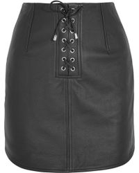 Topshop Unique - Swinton Textured-leather Mini Skirt - Lyst