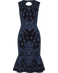 Hervé Léger Hervé Léger Fluted Jacquard-knit Dress Black