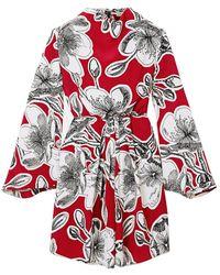 Stine Goya Jacob Floral-print Silk-crepe Mini Dress - Red