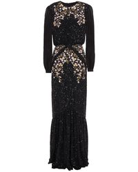 Saloni Isa Embroidered Sequined Georgette Gown - Black