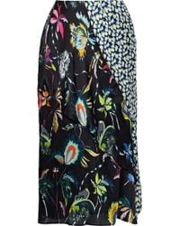 Jason Wu Panelled Floral-print Silk-georgette Skirt Black
