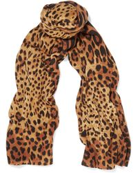 Magaschoni Leopard-print Cashmere Scarf - Brown