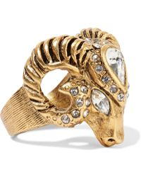 Elizabeth Cole - Clayton Gold-plated Swarovski Crystal Ring - Lyst