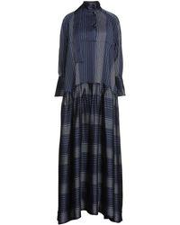 Palmer//Harding Oversized Pleated Satin-jacquard Maxi Dress - Blue